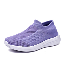 Women Sneakers Casual-Shoes Sports Socks Outdoor Slip-On Ladies Mesh Light Breathable