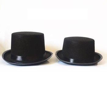 Black Top Hat Satin High Caps Adults Kids Flat Dome Top Hats For Magician Costume Performance Theatr
