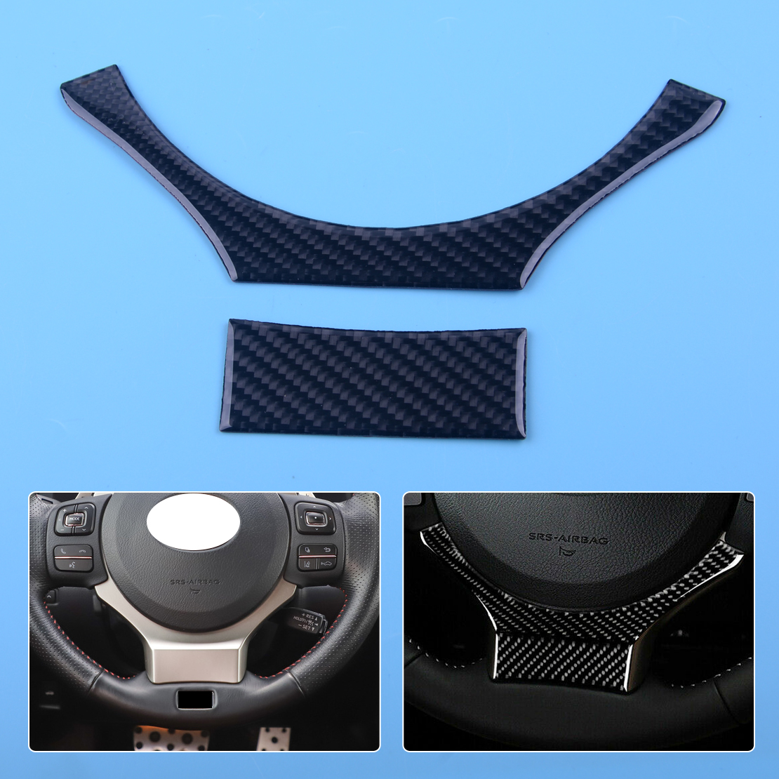 DWCX Black Carbon Fiber Steering Wheel Cover Trim Stripes Panel Frame Fit for Lexus IS250 IS300 IS350 2014 2015 2016 2017 in Interior Mouldings from Automobiles Motorcycles