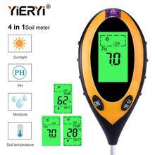 Yieryi 4 в 1 цифровой рН-метр влажности почвы монитор температуры солнечного света тестер для садоводства растений земледелие с черным светом