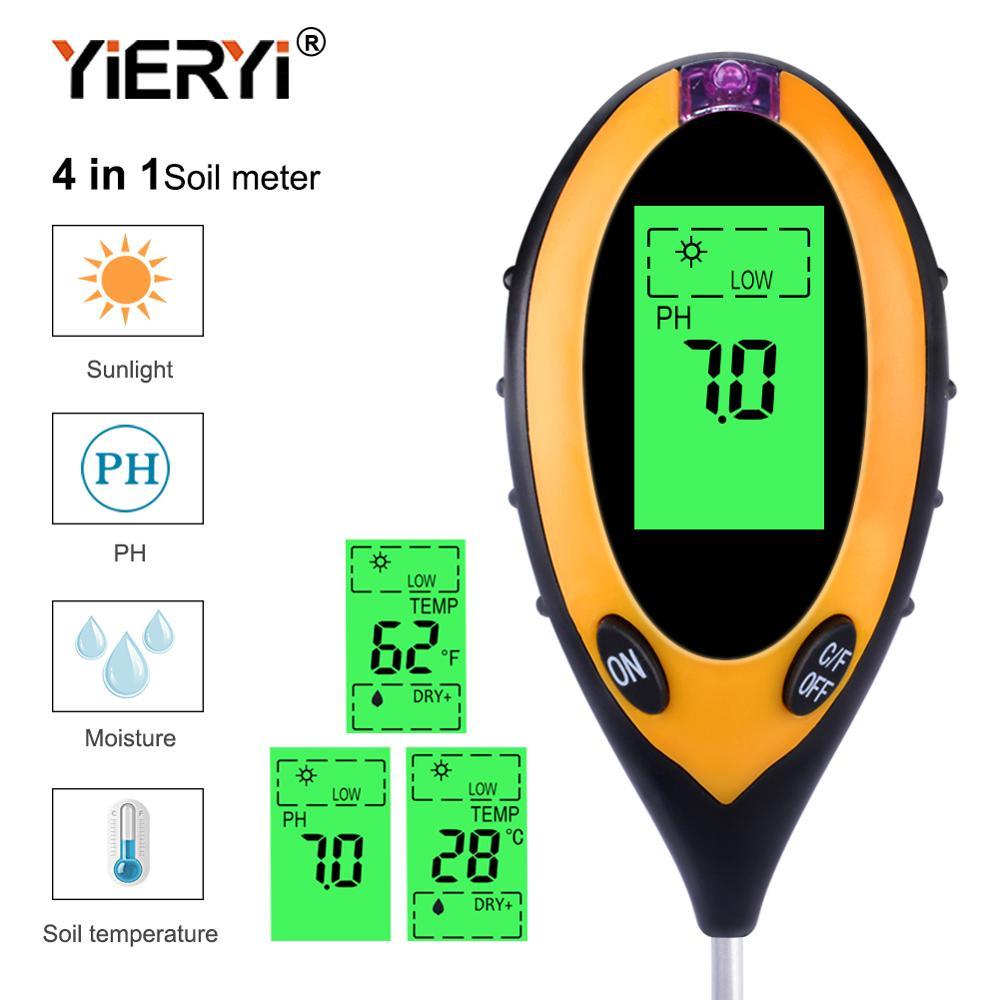 Yieryi 4 In 1 Digital PH Meter Soil Moisture Monitor Temperature Sunlight Tester For Gardening Plants Farming With Blacklight
