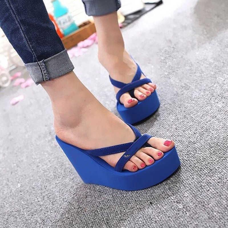 Kadınlar için platform sandaletler yüksek topuklu sandalet yaz kadın ayakkabı moda terlikler plaj Flip flop katı slaytlar 2019