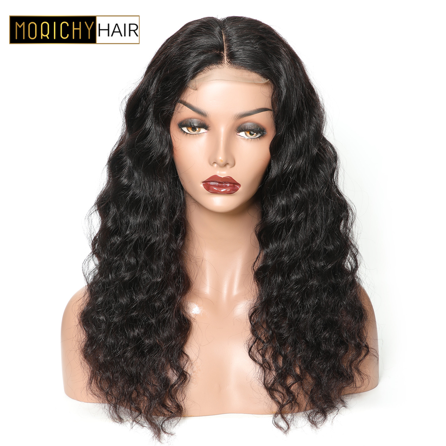 Morichy Hair 4x4 Brazilian Loose Wave Wigs Lace Closure Human Hair Wig 150 Density Middle Part Non Remy Hair Closure Wig