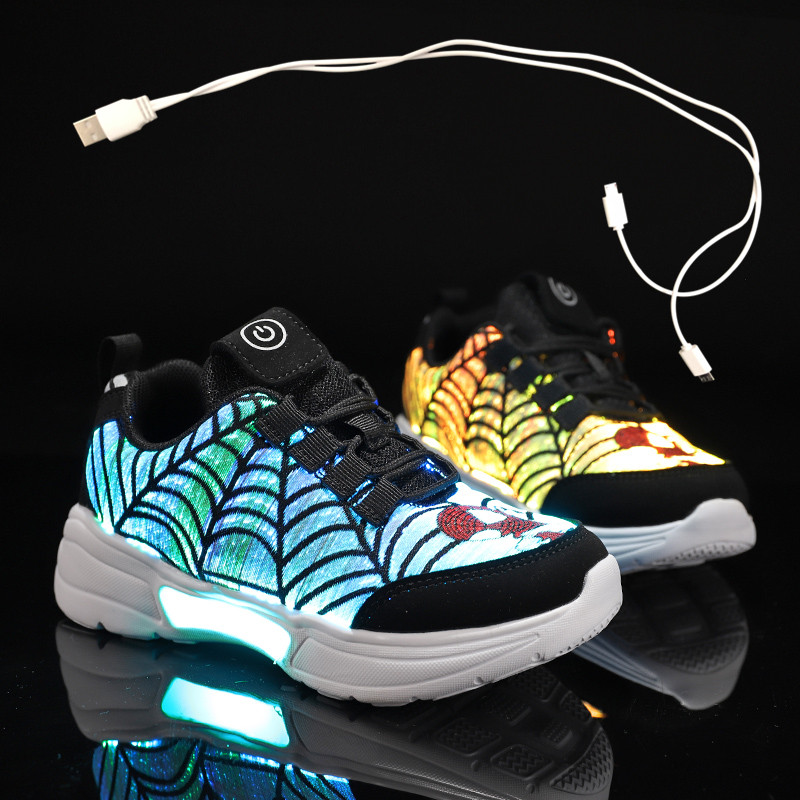Size 27-38 New Summer Autumn Led Fiber Optic Shoes For Girls Boys Men Women USB Recharge Glowing Sneakers Man Light Up Shoes