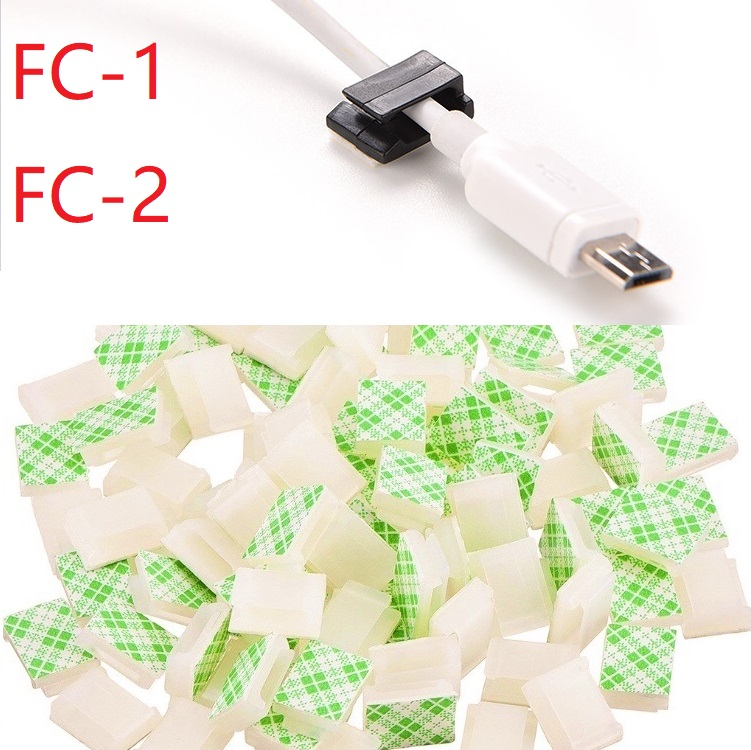 10pcs FC-1 FC-2 Cable Clamp Car Cord Clip Self Adhesive Mount Wire Tie Fix Holder Line Organizer Management Fastener White Black