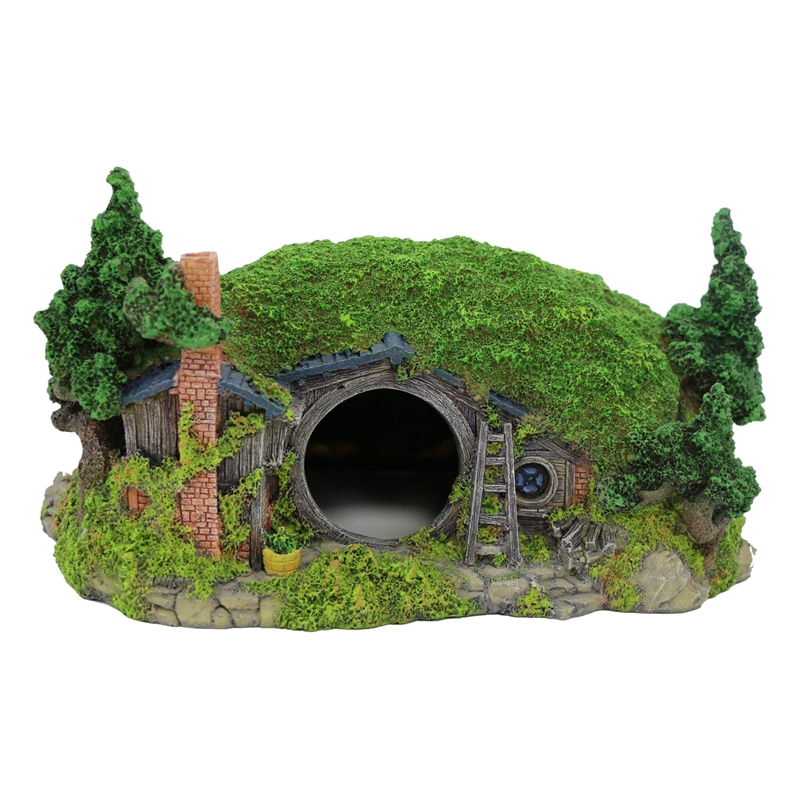Aquarium Decoration Hobbit House Reptile Hole House Shelter Fish Tank Ornament Rockery Landscaping