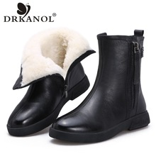 Fur Shoes Snow-Boots Winter Women Waterproof Genuine-Leather Fashion DRKANOL Mid-Calf