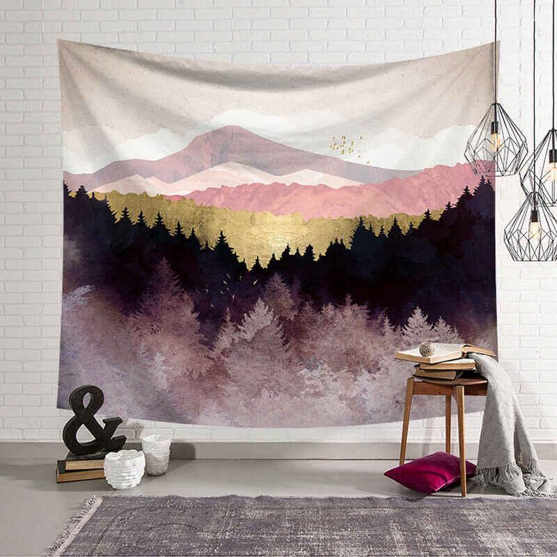 צבע גדול ירח שלג הרי שמיים לילה נוף תלוי שטיח קיר היפי רטרו יוגה חוף מגבת בית תפאורה