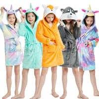 Bata de baño con capucha para bebé y niña, ropa de invierno, Franela suave, Animal, zorro, unicornio, toalla