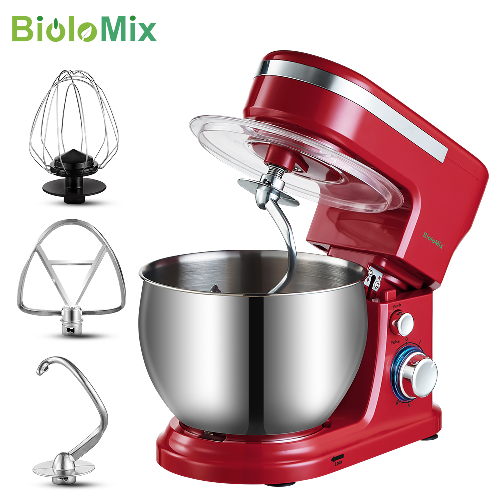 BioloMix 1200W  5L Stainless Steel Bowl 6 speed Kitchen Food Stand Mixer Cream Egg Whisk Whip Dough Kneading Mixer Blender