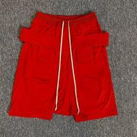 20SS Owen Seak Men Casual Cotton Short Harem Gothic Cross Sweatpants Summer High Street Hip Hop Women Loose Red Shorts Size XL
