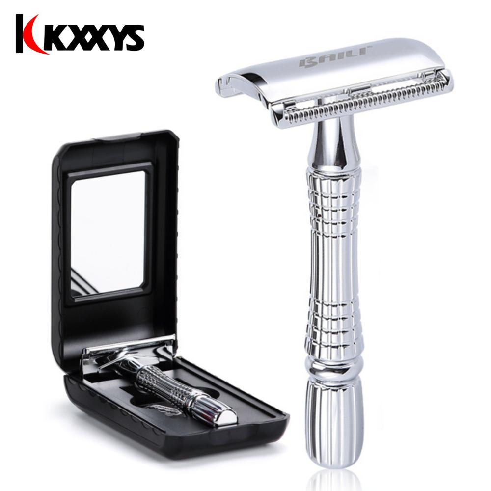Razor Mens Adjustable Shaving Double Edge Classic Safety Razor Blade Beard Hair Cut Personal Care +1 Blade +1 Travel Case BT171