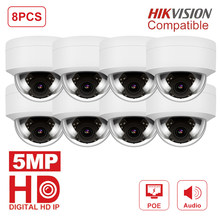 8pcs/lot Hikvision Compatible 5MP PoE IP Camera Outdoor H.265 HD Video Surveillance Dome Camera Audio Support P2P IR30M Onvif(China)