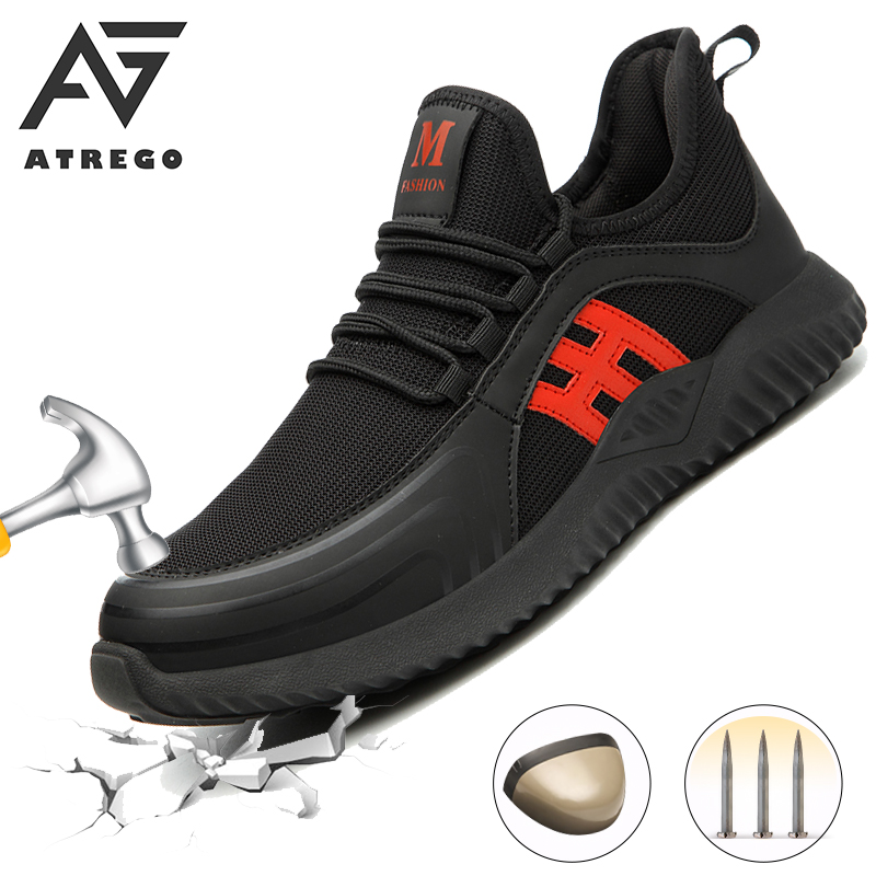 AtreGo Breathable Lightweight Men Night Reflective Safety Shoes Steel Toe Outdoor Sneakers Non slip Anti puncture Safety Shoes|Work & Safety Boots|   - AliExpress