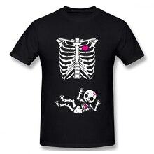 Skeleton Pregnant Casual O-Neck Men's Basic Short Sleeve T-Shirt 100% Cotton Tee Shirt Printed boat neck basic tee
