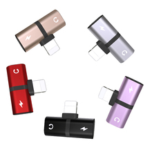 Buy T-shaped Headphone 2-in-1 Dual-port Headphone Adapte for iPhone 7 8 Plus X XS Xs Max 11 Audio Charger Dispenser Accessories directly from merchant!