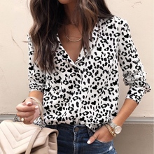 Fashion Women Blouse Long Sleeve Leopard V neck Shirt Ladies OL Party Top Streetwear blusas femininas elegante Plus Size