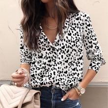 Fashion Women Blouse Long Sleeve Leopard V neck Shirt Ladies OL Party Top Streetwear blusas femininas elegante Plus Size