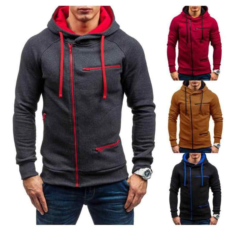 New European and American style men's pure color sports casual jacquard hoodie fleece hoodie casual men's hoodie