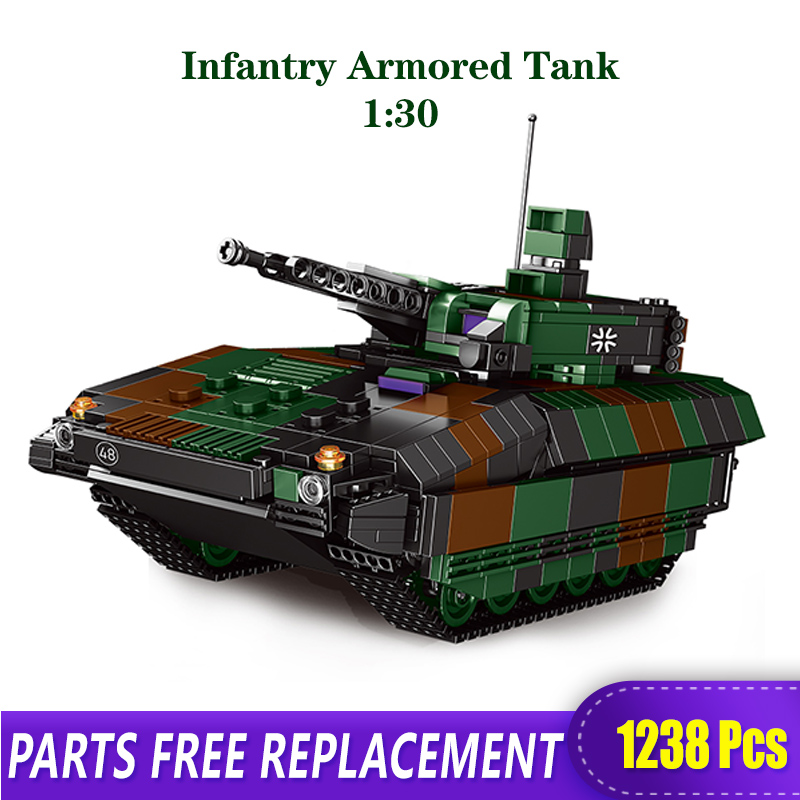 The Military Technic XINGBAO New 06042 Army Theme Armored Tank Building Blocks Legoingly WW2 Weapon Figures Bricks Boy's Toys