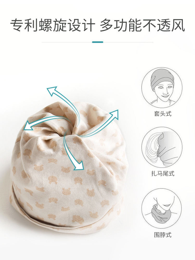 Confinement Cap Winter Thick Section Windproof Without Brim Headscarf Postpartum Pregnant Women Hair Band Winter Pure Cotton Cut