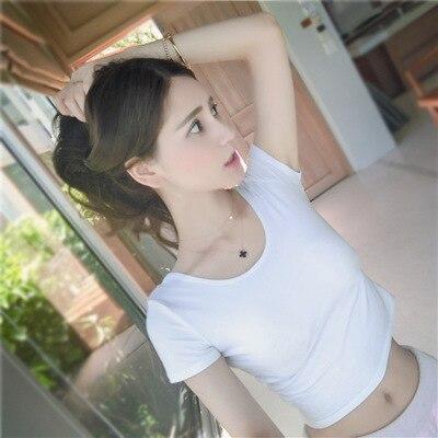 2020 Summer Short Sleeves Regular Short White T-shirt Girl Wear New Style