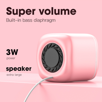 USB Wired Computer Speakers Pink Laptop Speaker Subwoofer Deep Bass Sound Box Music Player Loudspeaker Haut-parleurs Cute Column 2