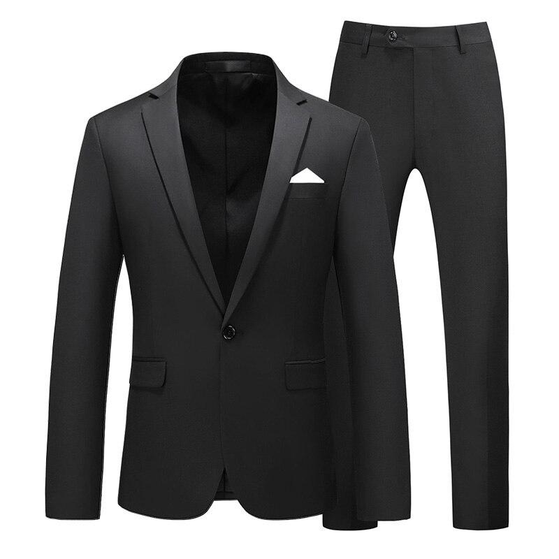 Image 2 - Men suit 2020 New Simple blazer Solid color 2 pcs classic Business Casual slim mens suit multicolor wedding groom tuxudoSuits   -