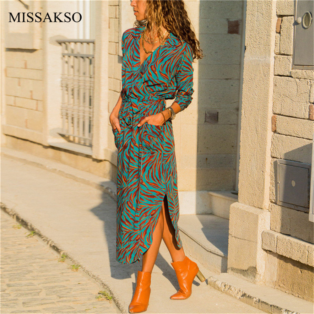 Women Floral Print Midi Dress Long Sleeve Casual Beach Bohemian Spring Autumn Office Shirt Party Dresses Plus Size Vestidos