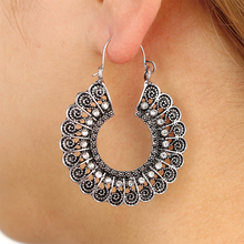 Hello Miss New fashion earrings retro bohemian national wind carved hollow womens jewelry gifts