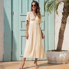 Robe longue à boutons pour femmes, nouvelle mode, col en V, taille haute, manches à bandes, vêtements de vacances, 2021