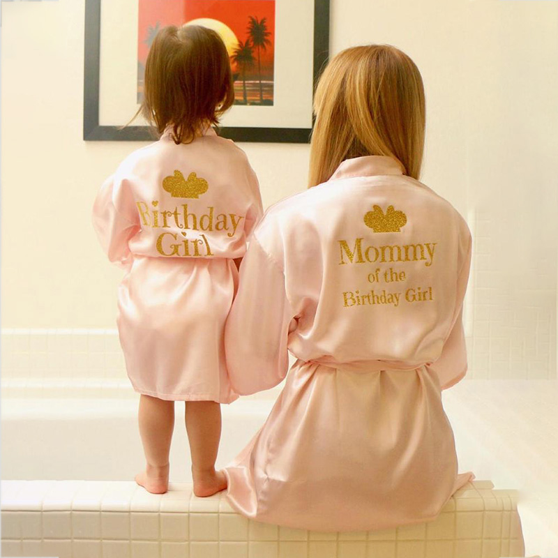 Birthday Girl&Mother Of Birthday Girl Robe Satin Toddler Baby Women Princess Spa Party Favor Ladies Dressing Gift Kimono Robes