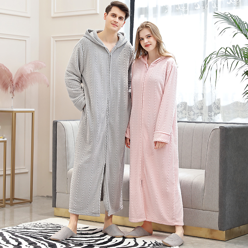 Women Winter Plus Size Long Warm Flannel Hooded Bathrobe 40-110KG Zipper Bath Robe Pregnant Night Dressing Gown Men Sleepwear