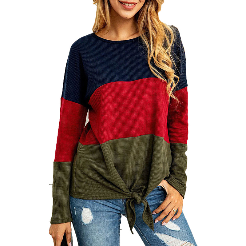 GAOKE Autumn Spring Warm Knitted Sweater 2020 Women O Neck Patchwork Sexy Tops Jumper Casual Long Sleeve Sweaters Pullover