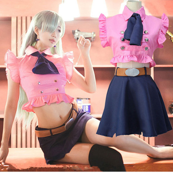Elizabeth Liones Cosplay The Seven Deadly Sins Nanatsu No Taizai Anime Tops Skirt Belt Outfit Costume