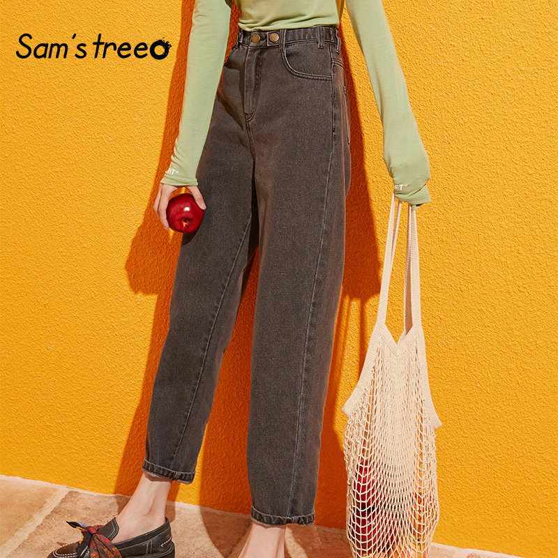 Samstree Blue Solid Pocket Side High Waist Retro Leisure Jeans Women 2019 Autumn Green Black Straight Korean Female Denim Pants