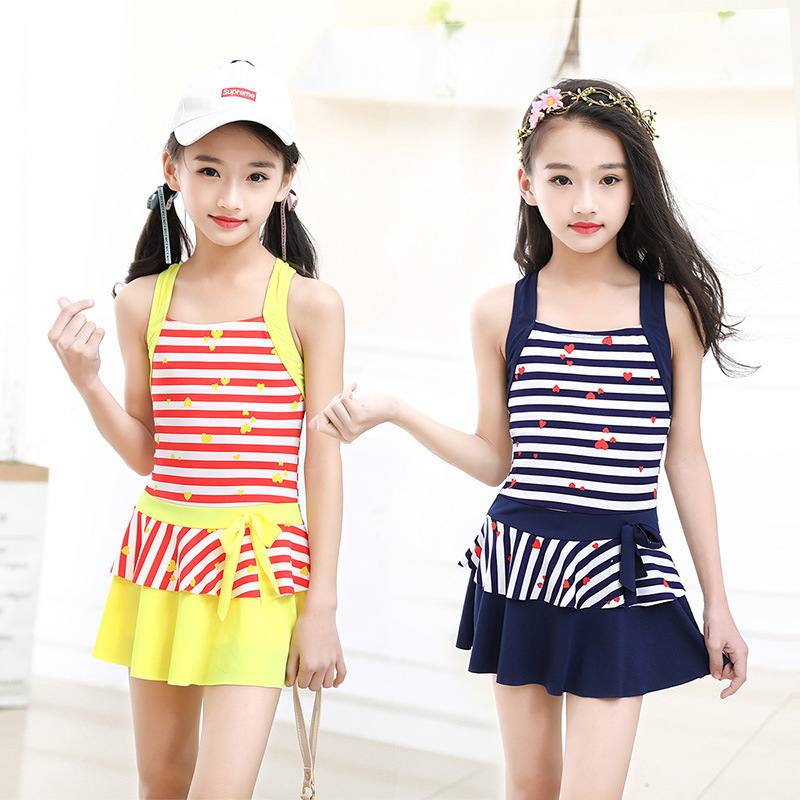 New Style GIRL'S Swimsuit GIRL'S Dress-Tour Bathing Suit Stripes Big Boy Children Baby Hot Springs Bathing Suit Manufacturers
