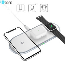 DCAE 3 in 1 Qi Wireless Charger For iPhone 8 X XS Max XR 11 pro 10W Fast Charging Pad for Apple Watch 5 4 3 2 1 AirPods Pro Dock(China)