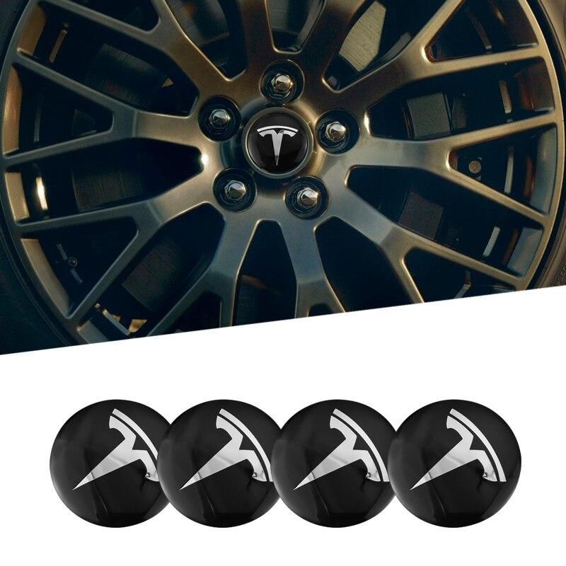 4 pçs 56mm roda de carro adesivos centro hub tampa emblema do carro decalque para tesla modelo 3 x modelo s acessórios
