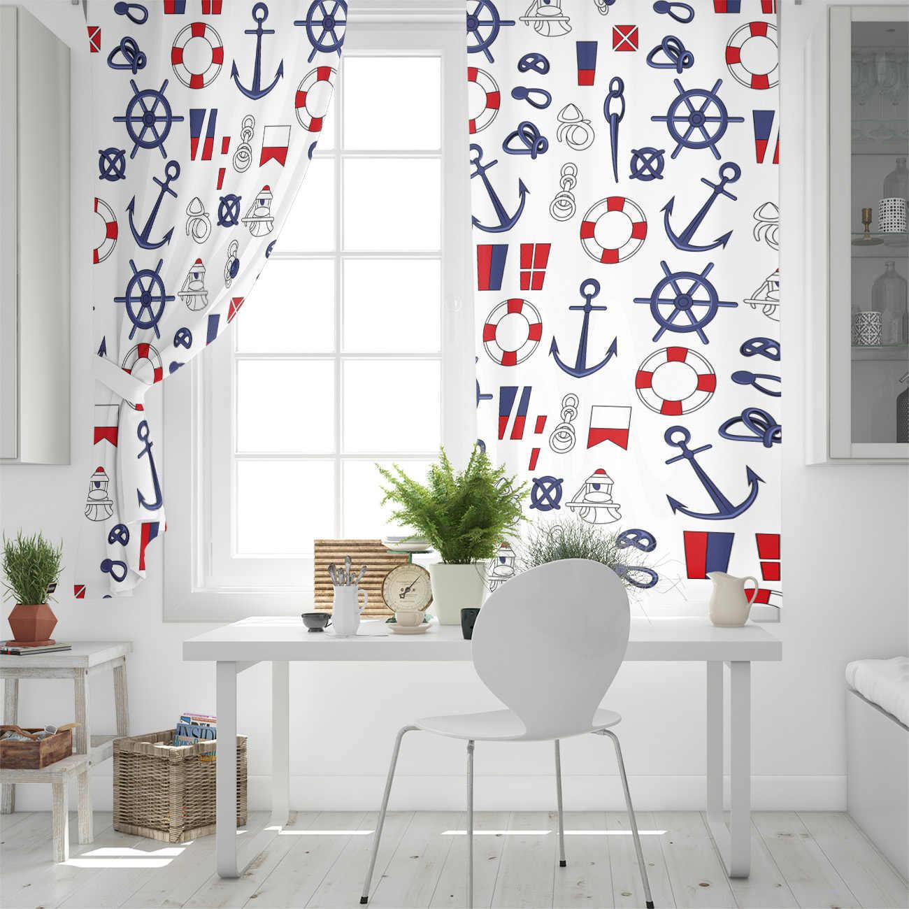Nautical Motif Window Curtains Living Room Outdoor Fabric Drapes Curtain Home Decor Curtains Aliexpress