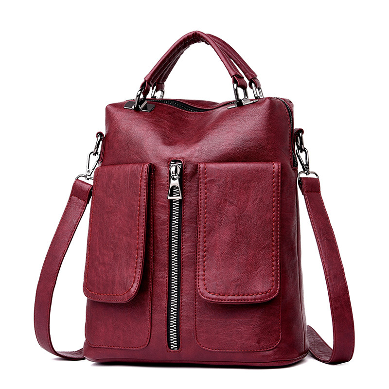 3-in-1 Retro Double Pocket Women Backpacks Female High Quality Leather Backpack School Shoulder Bags For Teenage Girls Sac A Dos