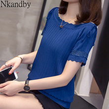 Plus Size Knitted Tshirt 2020 Summer Women Fashion Wave Line Round Neck Hollow O