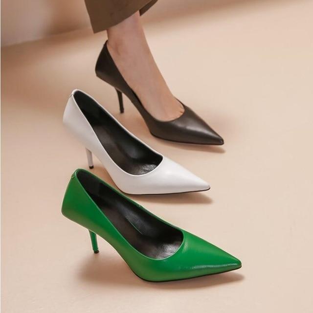 Zapatos sexis puntiagudos de tacón alto de piel verde negro blanco mate zapatos de celebración Slip on primavera otoño banquete caída de zapatos barco