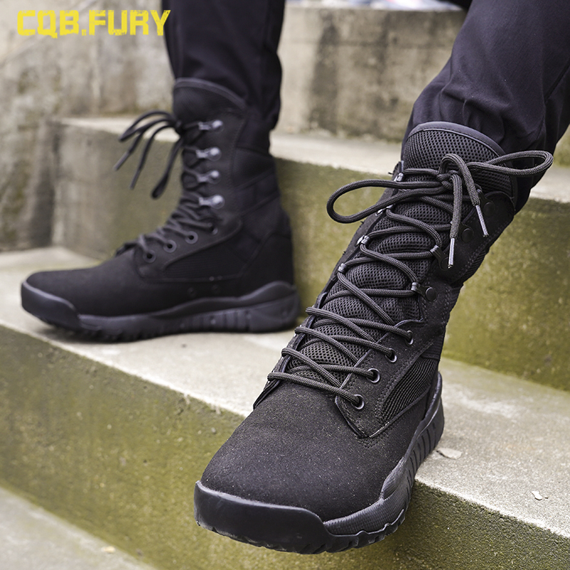 2019  Summer Mesh Breathable 07 Ultra-light Combat Boots Men's High Help Special Forces Tactical Boots Combat Boots