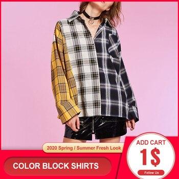 Women Shirt Button Oversize Cotton Plaid Long Sleeve Blouse Casual Korea Hip Hop Streetwear Patchwork 2020 Fall Vintage Tops turtleneck falbala patchwork plaid blouse