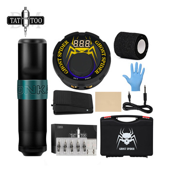 Professional Tattoo Kit Rotary Machine LCD Power Supply Foot Pedal Cartridge Needles Complete Tattoo Set for Starter