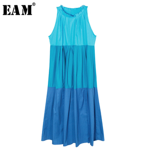 [EAM] 2020 New Spring Summer Round Neck Sleeveless Puff Hit Color Spliced Pleated Big Size Temperament Women Fashion JX640