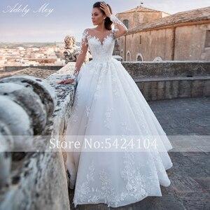 Image 3 - Adoly Mey Luxus Appliques Langarm Perlen A Line Hochzeit Kleid 2020 Romantische Scoop Neck Lace Up Vintage Braut Kleid Plus größe