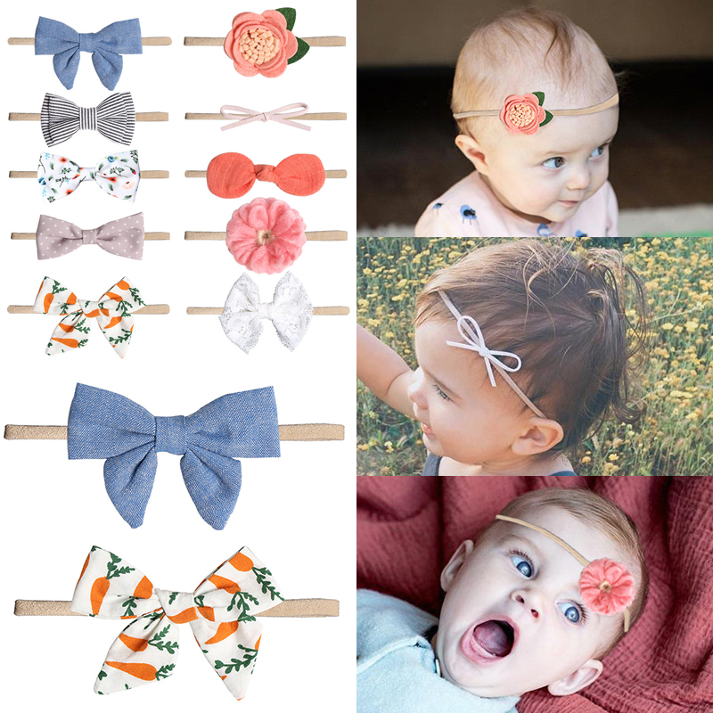 Baby Bows Newborn Girls Flower Headband Boneless Comfort Infant Princess Headdress Baby Girl Turban Headwear Hair Accessories