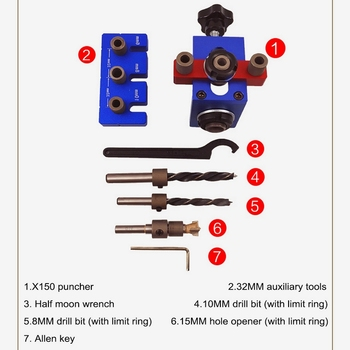 Die Steel Aluminum Alloy X150 Three-in-one Puncher Round Wood Vertebra Drilling Three-in-one Positioning Woodworking Openi